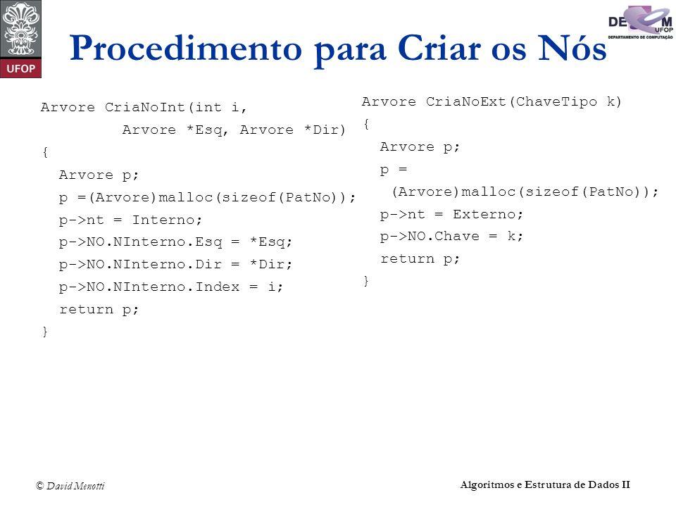 © David Menotti Algoritmos e Estrutura de Dados II Procedimento para Criar os Nós Arvore CriaNoInt(int i, Arvore *Esq, Arvore *Dir) { Arvore p; p =(Arvore)malloc(sizeof(PatNo)); p->nt = Interno; p->NO.NInterno.Esq = *Esq; p->NO.NInterno.Dir = *Dir; p->NO.NInterno.Index = i; return p; } Arvore CriaNoExt(ChaveTipo k) { Arvore p; p = (Arvore)malloc(sizeof(PatNo)); p->nt = Externo; p->NO.Chave = k; return p; }