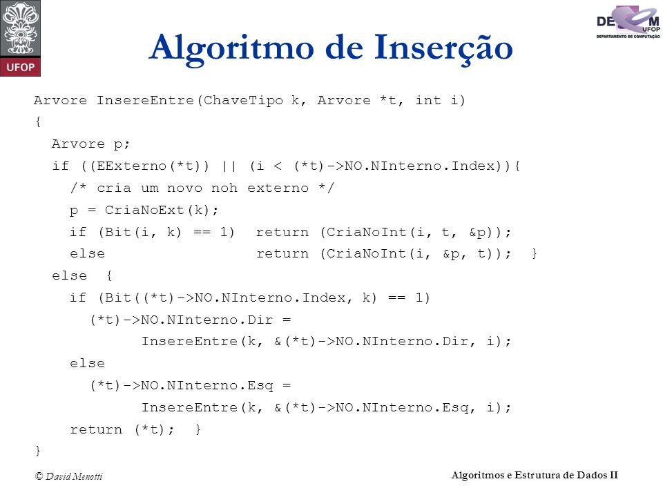 © David Menotti Algoritmos e Estrutura de Dados II Arvore InsereEntre(ChaveTipo k, Arvore *t, int i) { Arvore p; if ((EExterno(*t)) || (i NO.NInterno.Index)){ /* cria um novo noh externo */ p = CriaNoExt(k); if (Bit(i, k) == 1) return (CriaNoInt(i, t, &p)); else return (CriaNoInt(i, &p, t)); } else { if (Bit((*t)->NO.NInterno.Index, k) == 1) (*t)->NO.NInterno.Dir = InsereEntre(k, &(*t)->NO.NInterno.Dir, i); else (*t)->NO.NInterno.Esq = InsereEntre(k, &(*t)->NO.NInterno.Esq, i); return (*t); } } Algoritmo de Inserção
