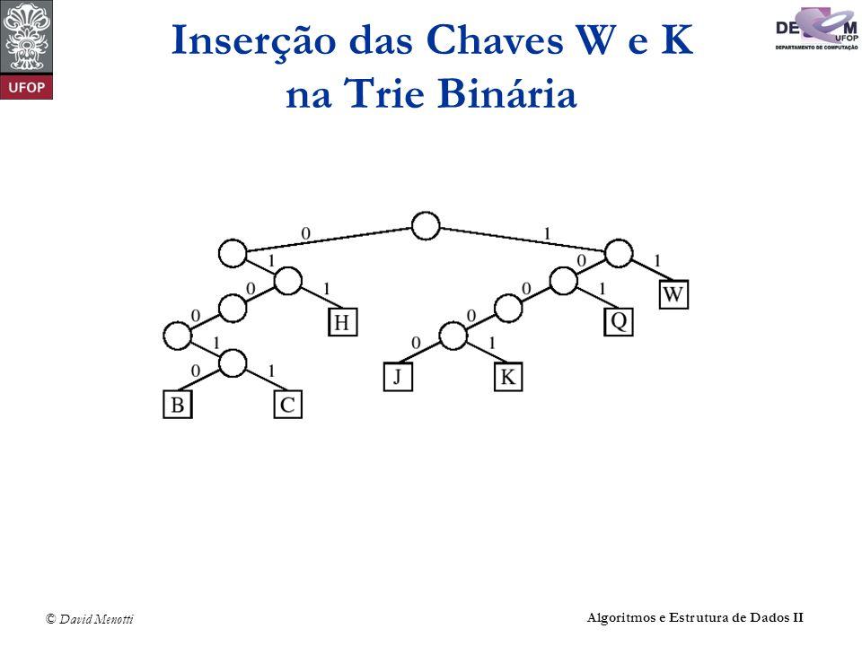 © David Menotti Algoritmos e Estrutura de Dados II Inserção das Chaves W e K na Trie Binária