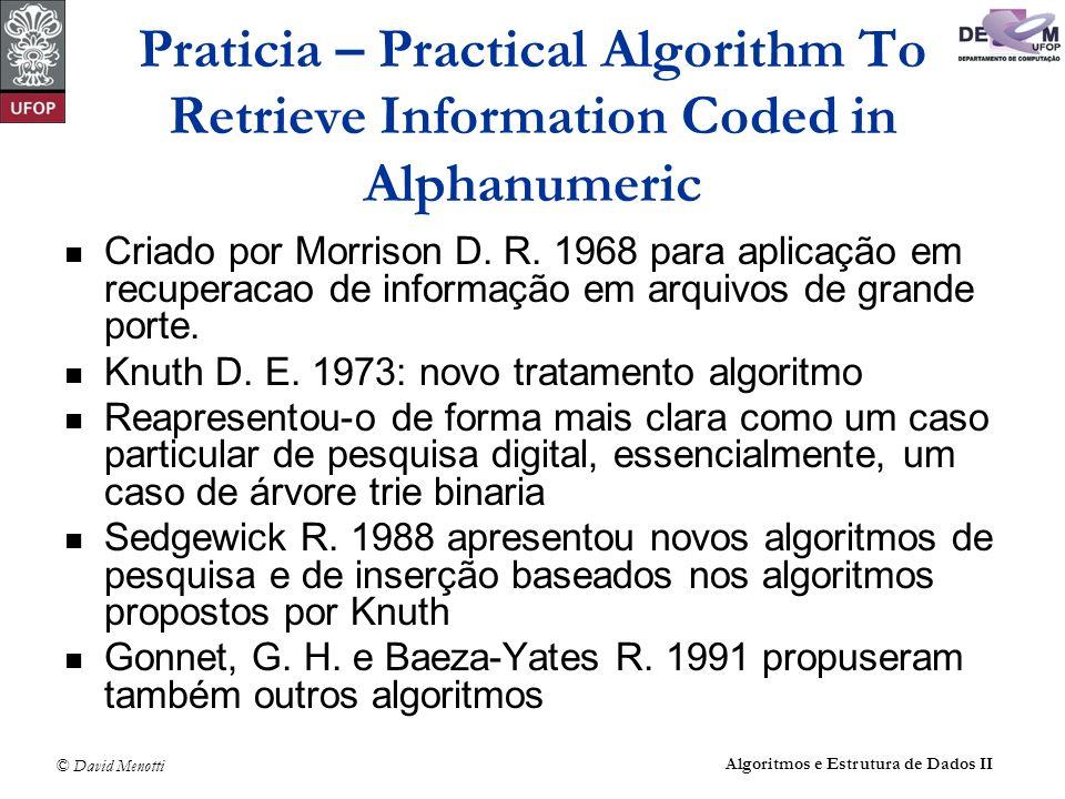 © David Menotti Algoritmos e Estrutura de Dados II Praticia – Practical Algorithm To Retrieve Information Coded in Alphanumeric Criado por Morrison D.