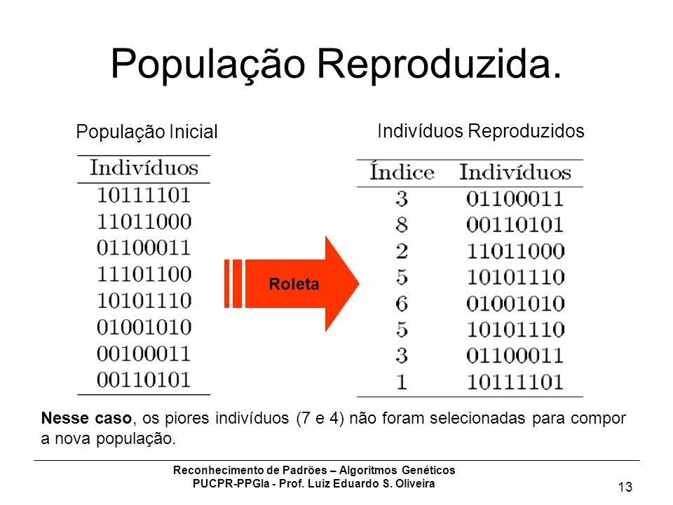 Reconhecimento de Padrões – Algoritmos Genéticos PUCPR-PPGIa - Prof. Luiz Eduardo S. Oliveira 13 População Reproduzida. População Inicial Indivíduos R