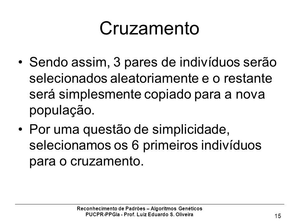 Reconhecimento de Padrões – Algoritmos Genéticos PUCPR-PPGIa - Prof. Luiz Eduardo S. Oliveira 15 Cruzamento Sendo assim, 3 pares de indivíduos serão s