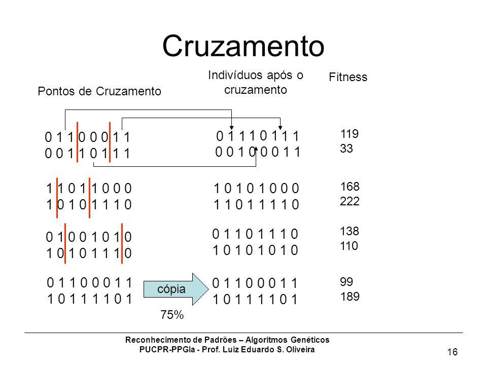 Reconhecimento de Padrões – Algoritmos Genéticos PUCPR-PPGIa - Prof. Luiz Eduardo S. Oliveira 16 Cruzamento 0 1 1 0 0 0 1 1 0 0 1 1 0 1 1 1 1 1 0 1 1
