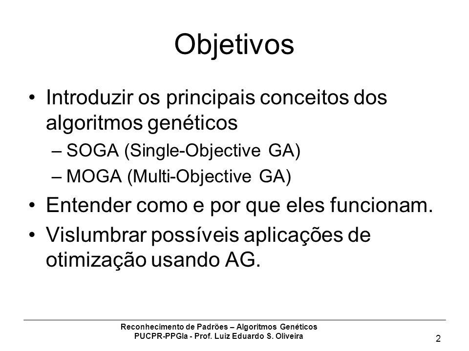 Reconhecimento de Padrões – Algoritmos Genéticos PUCPR-PPGIa - Prof. Luiz Eduardo S. Oliveira 2 Objetivos Introduzir os principais conceitos dos algor