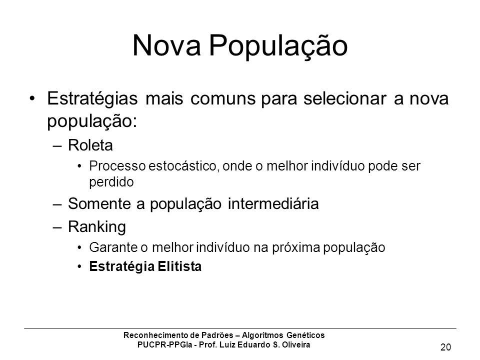 Reconhecimento de Padrões – Algoritmos Genéticos PUCPR-PPGIa - Prof. Luiz Eduardo S. Oliveira 20 Nova População Estratégias mais comuns para seleciona