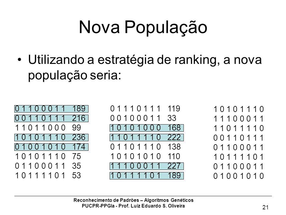 Reconhecimento de Padrões – Algoritmos Genéticos PUCPR-PPGIa - Prof. Luiz Eduardo S. Oliveira 21 Nova População Utilizando a estratégia de ranking, a