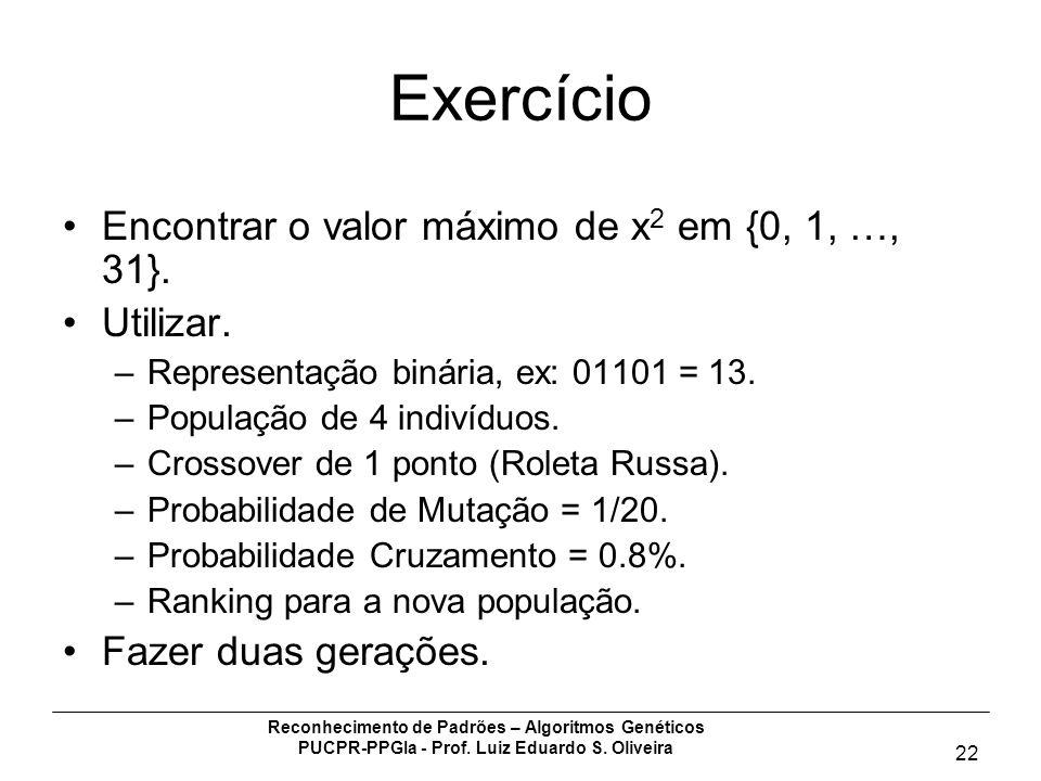 Reconhecimento de Padrões – Algoritmos Genéticos PUCPR-PPGIa - Prof. Luiz Eduardo S. Oliveira 22 Exercício Encontrar o valor máximo de x 2 em {0, 1, …