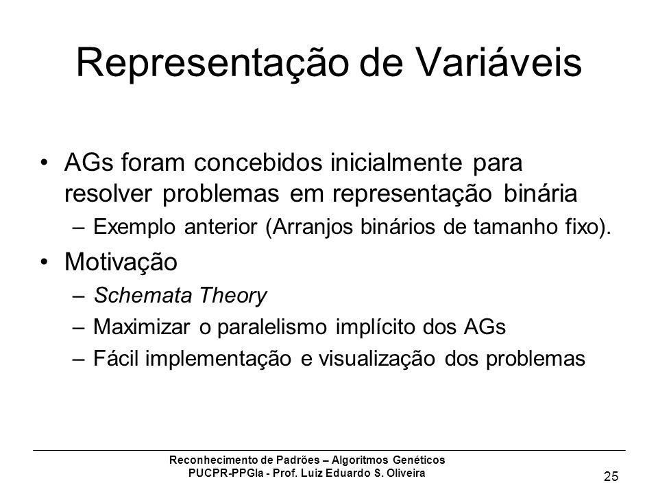 Reconhecimento de Padrões – Algoritmos Genéticos PUCPR-PPGIa - Prof. Luiz Eduardo S. Oliveira 25 Representação de Variáveis AGs foram concebidos inici
