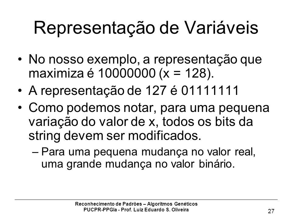 Reconhecimento de Padrões – Algoritmos Genéticos PUCPR-PPGIa - Prof. Luiz Eduardo S. Oliveira 27 Representação de Variáveis No nosso exemplo, a repres
