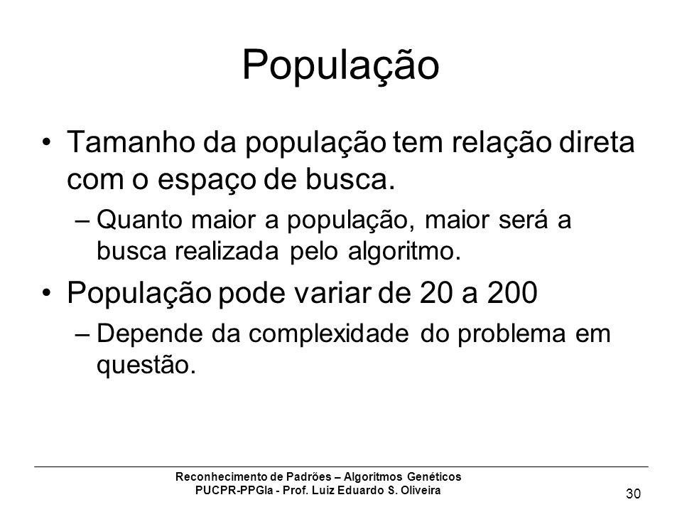 Reconhecimento de Padrões – Algoritmos Genéticos PUCPR-PPGIa - Prof. Luiz Eduardo S. Oliveira 30 População Tamanho da população tem relação direta com