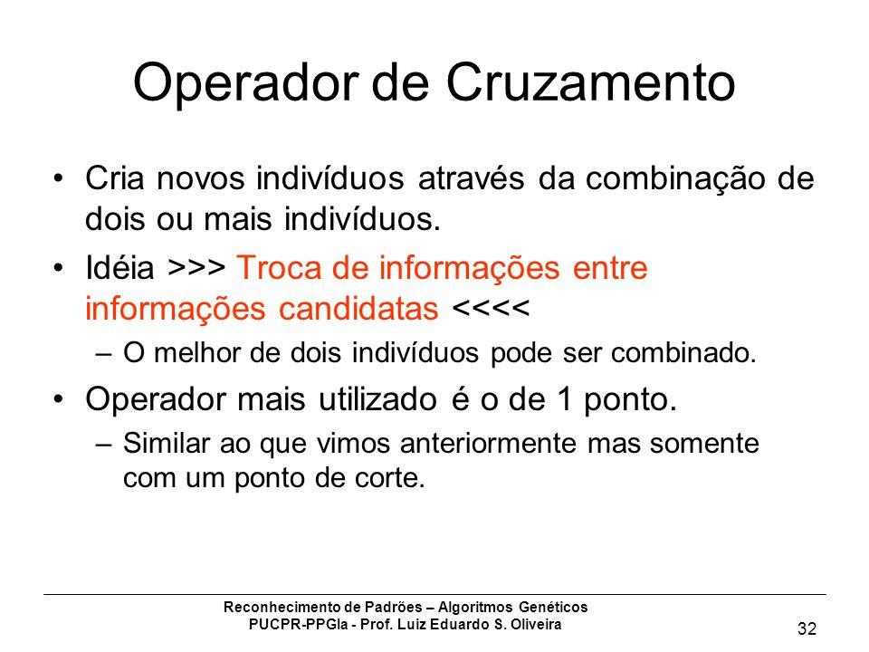 Reconhecimento de Padrões – Algoritmos Genéticos PUCPR-PPGIa - Prof. Luiz Eduardo S. Oliveira 32 Operador de Cruzamento Cria novos indivíduos através