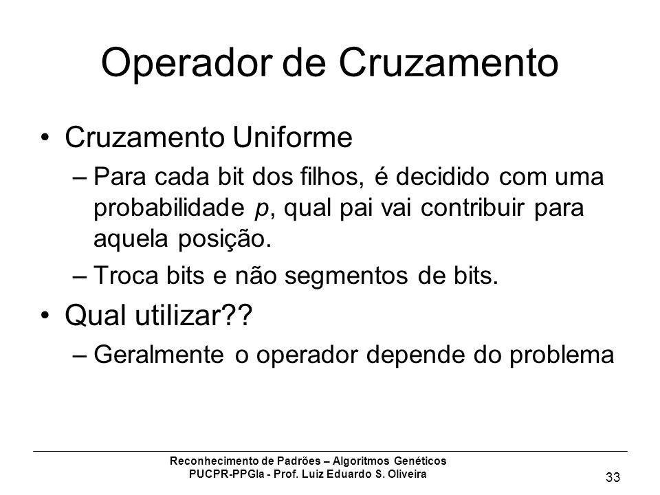Reconhecimento de Padrões – Algoritmos Genéticos PUCPR-PPGIa - Prof. Luiz Eduardo S. Oliveira 33 Operador de Cruzamento Cruzamento Uniforme –Para cada