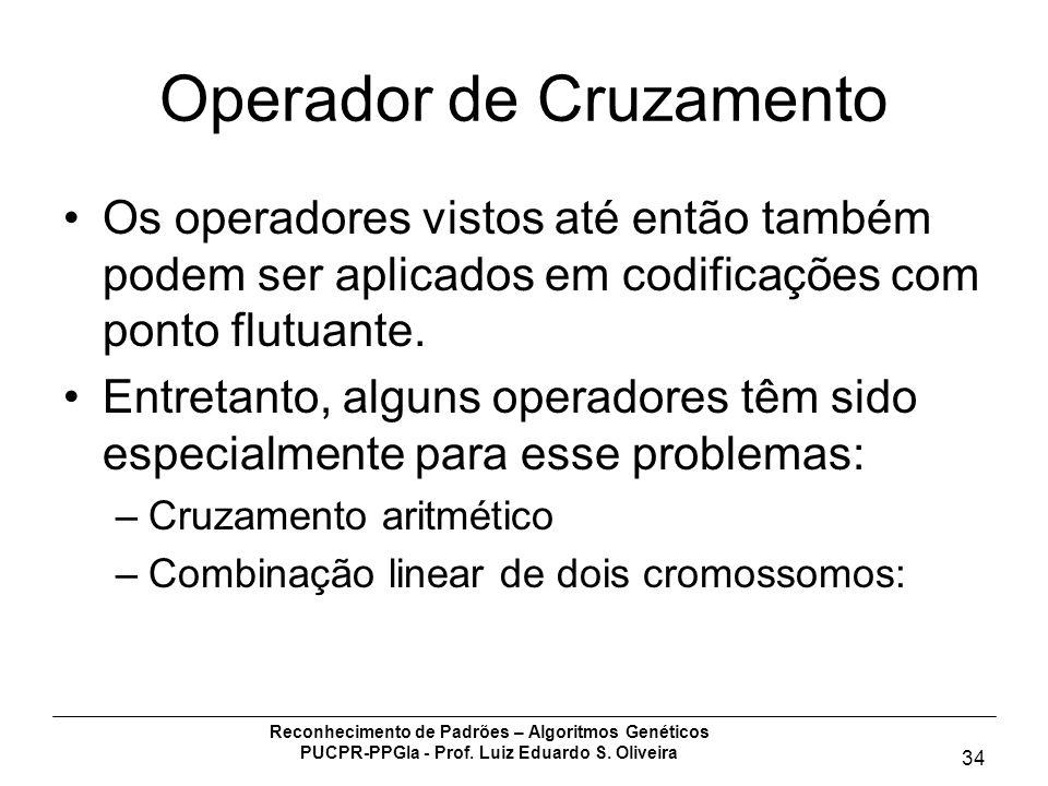 Reconhecimento de Padrões – Algoritmos Genéticos PUCPR-PPGIa - Prof. Luiz Eduardo S. Oliveira 34 Operador de Cruzamento Os operadores vistos até então