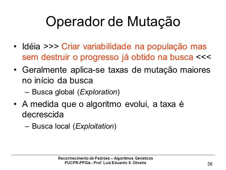 Reconhecimento de Padrões – Algoritmos Genéticos PUCPR-PPGIa - Prof. Luiz Eduardo S. Oliveira 36 Operador de Mutação Idéia >>> Criar variabilidade na