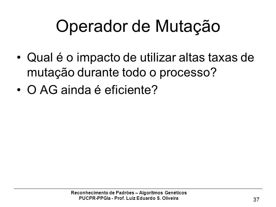 Reconhecimento de Padrões – Algoritmos Genéticos PUCPR-PPGIa - Prof. Luiz Eduardo S. Oliveira 37 Operador de Mutação Qual é o impacto de utilizar alta