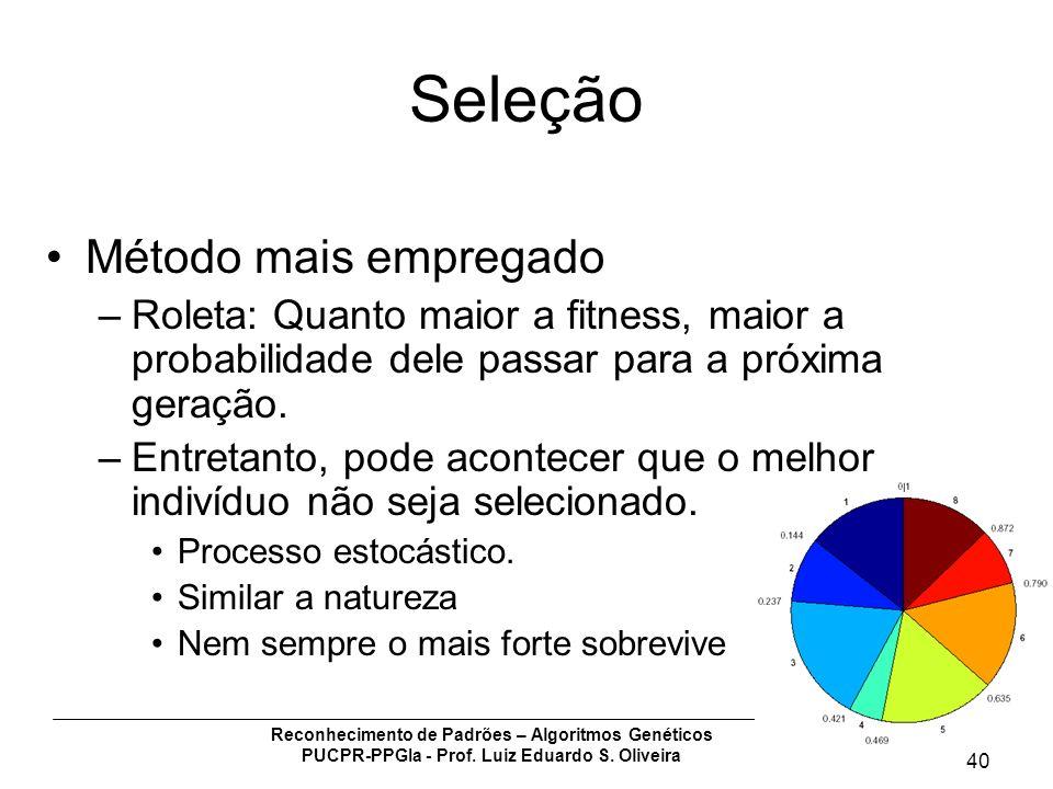 Reconhecimento de Padrões – Algoritmos Genéticos PUCPR-PPGIa - Prof. Luiz Eduardo S. Oliveira 40 Seleção Método mais empregado –Roleta: Quanto maior a