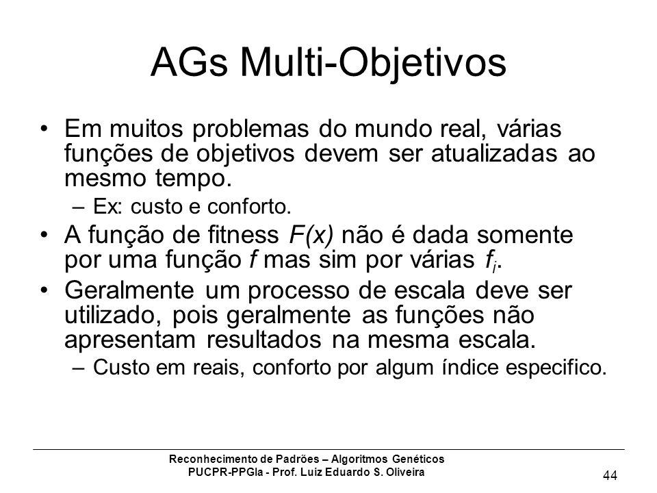 Reconhecimento de Padrões – Algoritmos Genéticos PUCPR-PPGIa - Prof. Luiz Eduardo S. Oliveira 44 AGs Multi-Objetivos Em muitos problemas do mundo real
