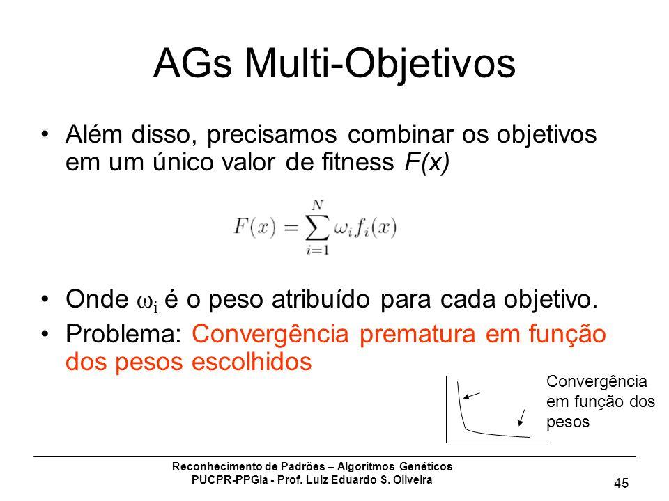 Reconhecimento de Padrões – Algoritmos Genéticos PUCPR-PPGIa - Prof. Luiz Eduardo S. Oliveira 45 AGs Multi-Objetivos Além disso, precisamos combinar o