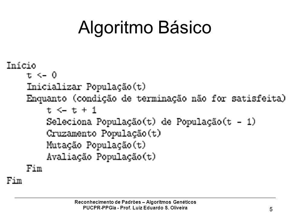 Reconhecimento de Padrões – Algoritmos Genéticos PUCPR-PPGIa - Prof. Luiz Eduardo S. Oliveira 5 Algoritmo Básico