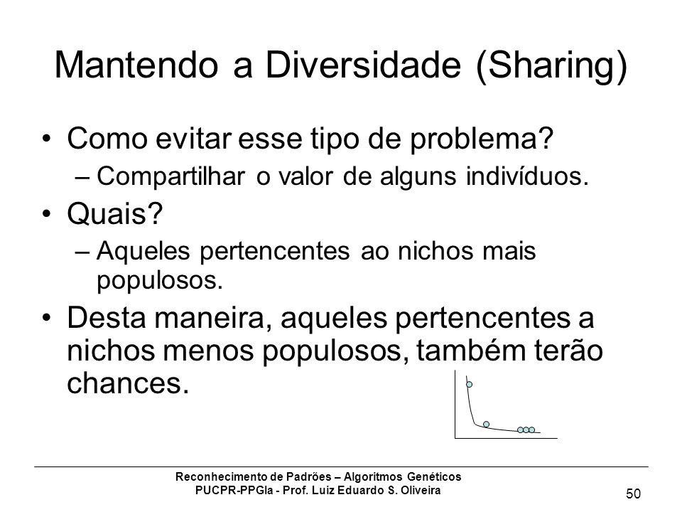 Reconhecimento de Padrões – Algoritmos Genéticos PUCPR-PPGIa - Prof. Luiz Eduardo S. Oliveira 50 Mantendo a Diversidade (Sharing) Como evitar esse tip