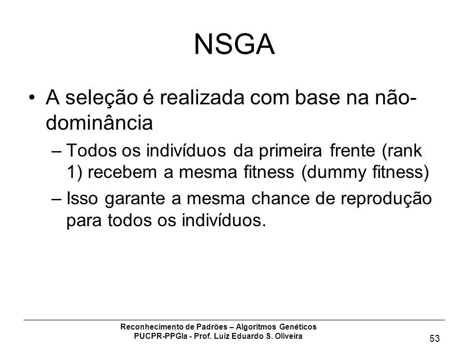 Reconhecimento de Padrões – Algoritmos Genéticos PUCPR-PPGIa - Prof. Luiz Eduardo S. Oliveira 53 NSGA A seleção é realizada com base na não- dominânci