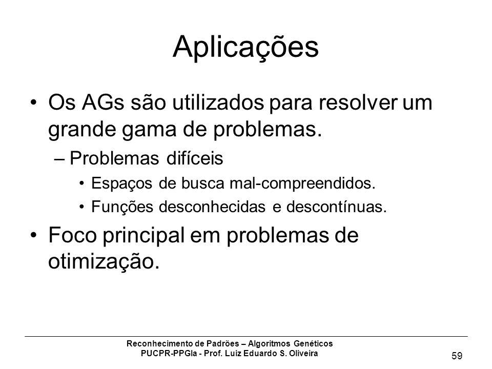 Reconhecimento de Padrões – Algoritmos Genéticos PUCPR-PPGIa - Prof. Luiz Eduardo S. Oliveira 59 Aplicações Os AGs são utilizados para resolver um gra