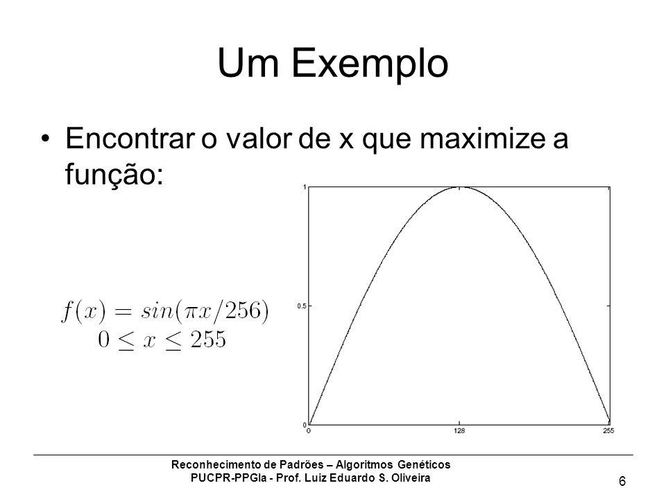 Reconhecimento de Padrões – Algoritmos Genéticos PUCPR-PPGIa - Prof. Luiz Eduardo S. Oliveira 6 Um Exemplo Encontrar o valor de x que maximize a funçã