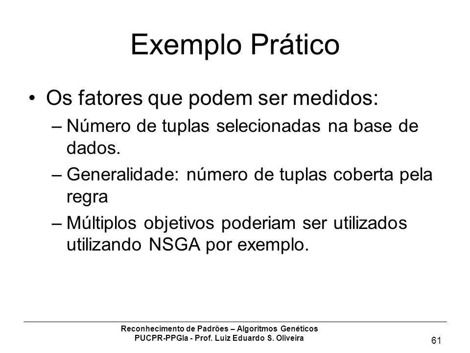 Reconhecimento de Padrões – Algoritmos Genéticos PUCPR-PPGIa - Prof. Luiz Eduardo S. Oliveira 61 Exemplo Prático Os fatores que podem ser medidos: –Nú
