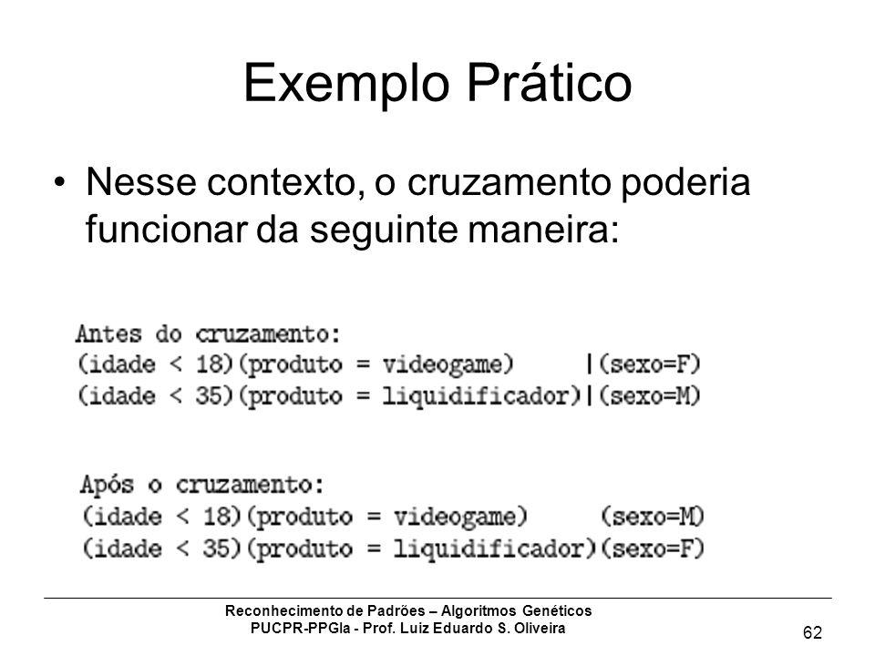 Reconhecimento de Padrões – Algoritmos Genéticos PUCPR-PPGIa - Prof. Luiz Eduardo S. Oliveira 62 Exemplo Prático Nesse contexto, o cruzamento poderia