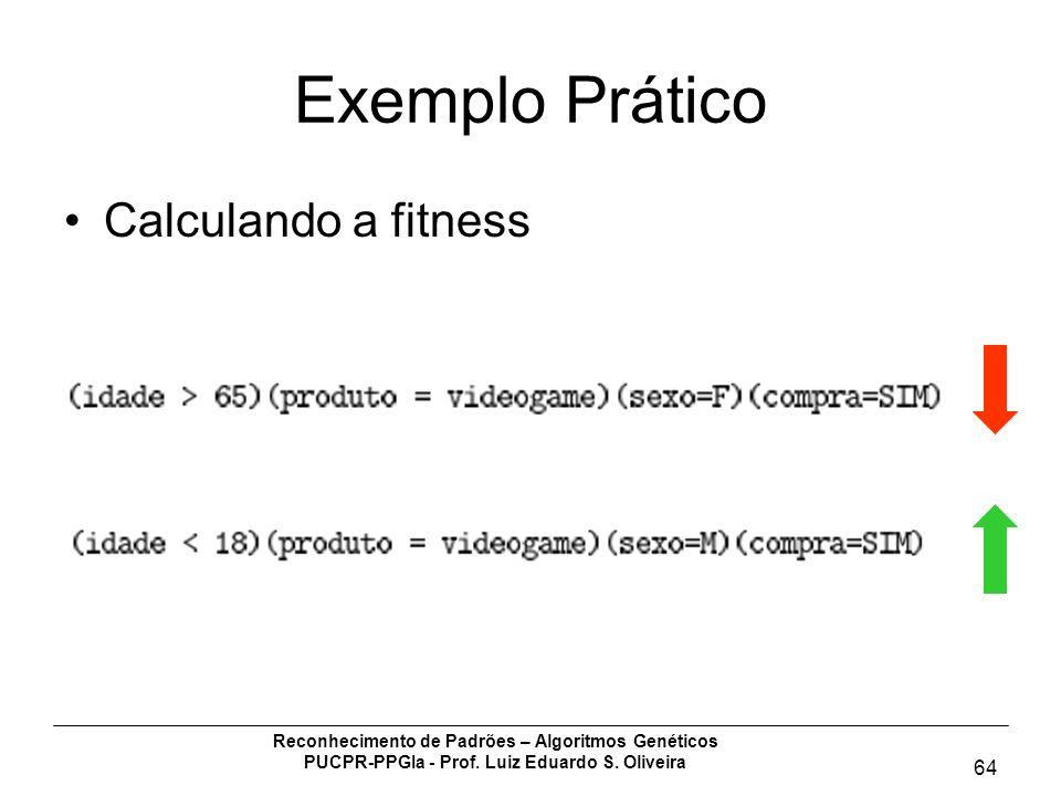 Reconhecimento de Padrões – Algoritmos Genéticos PUCPR-PPGIa - Prof. Luiz Eduardo S. Oliveira 64 Exemplo Prático Calculando a fitness