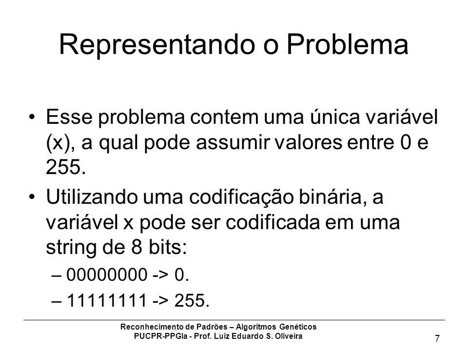 Reconhecimento de Padrões – Algoritmos Genéticos PUCPR-PPGIa - Prof. Luiz Eduardo S. Oliveira 7 Representando o Problema Esse problema contem uma únic