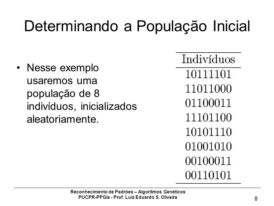Reconhecimento de Padrões – Algoritmos Genéticos PUCPR-PPGIa - Prof. Luiz Eduardo S. Oliveira 8 Determinando a População Inicial Nesse exemplo usaremo