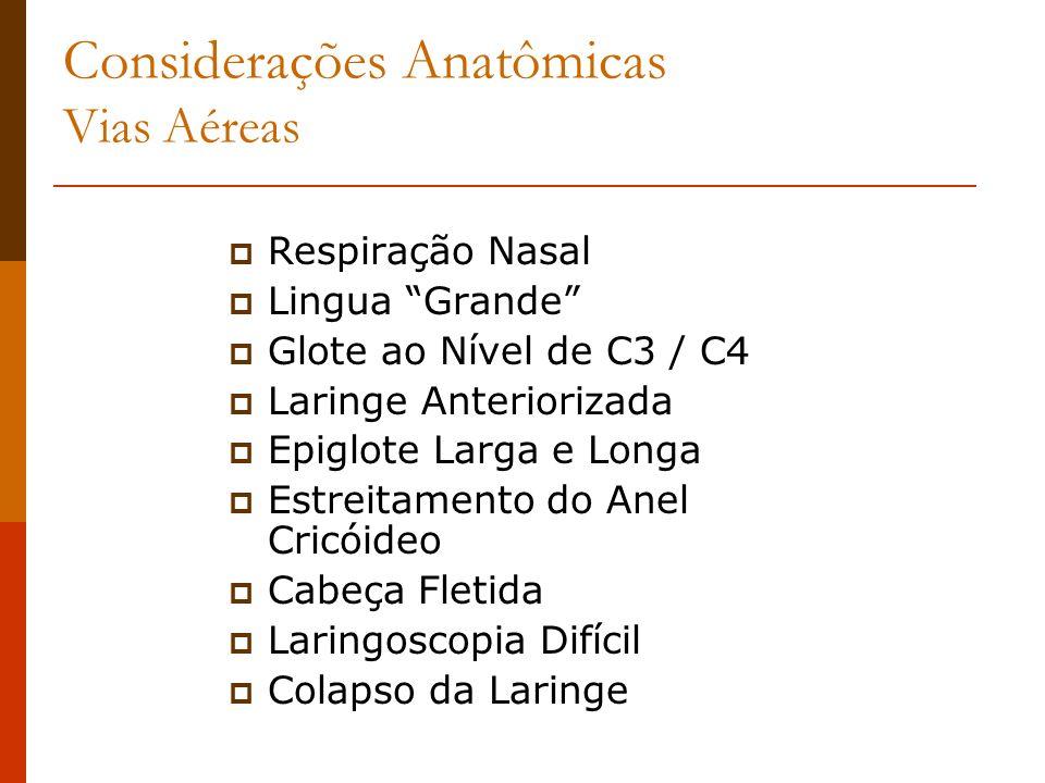 Considerações Anatômicas Vias Aéreas Respiração Nasal Lingua Grande Glote ao Nível de C3 / C4 Laringe Anteriorizada Epiglote Larga e Longa Estreitamen