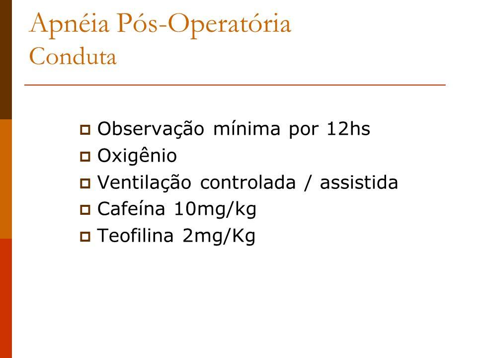 Apnéia Pós-Operatória Conduta Observação mínima por 12hs Oxigênio Ventilação controlada / assistida Cafeína 10mg/kg Teofilina 2mg/Kg