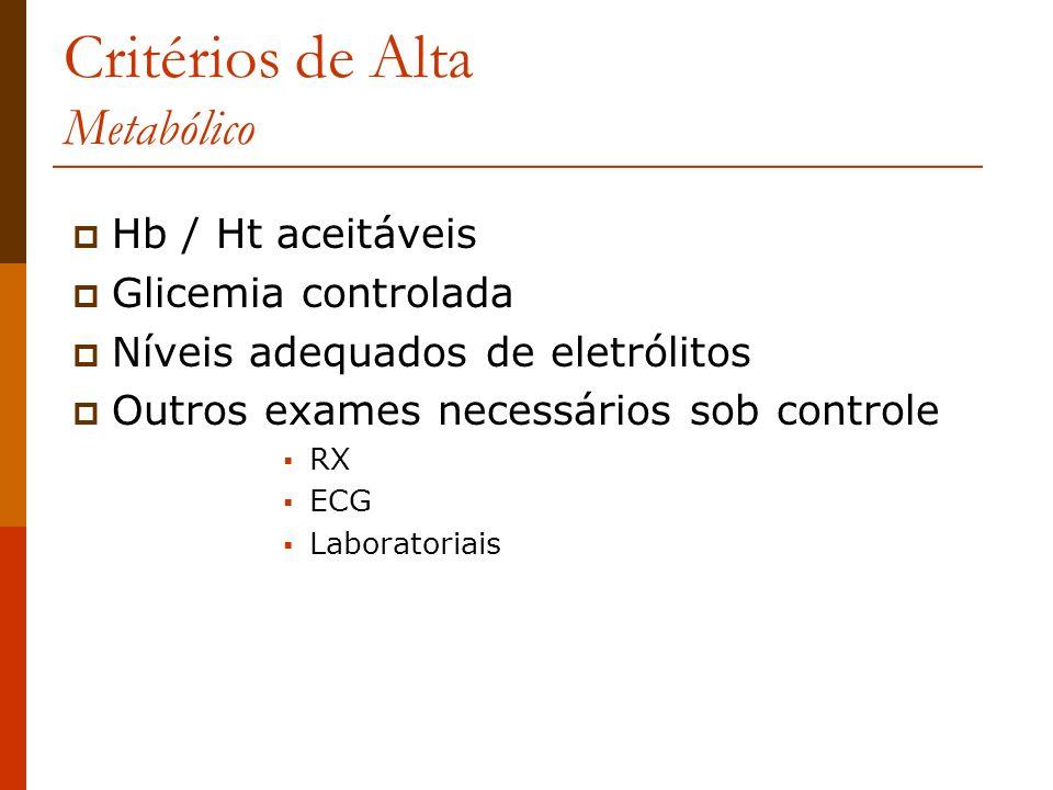 Critérios de Alta Metabólico Hb / Ht aceitáveis Glicemia controlada Níveis adequados de eletrólitos Outros exames necessários sob controle RX ECG Labo
