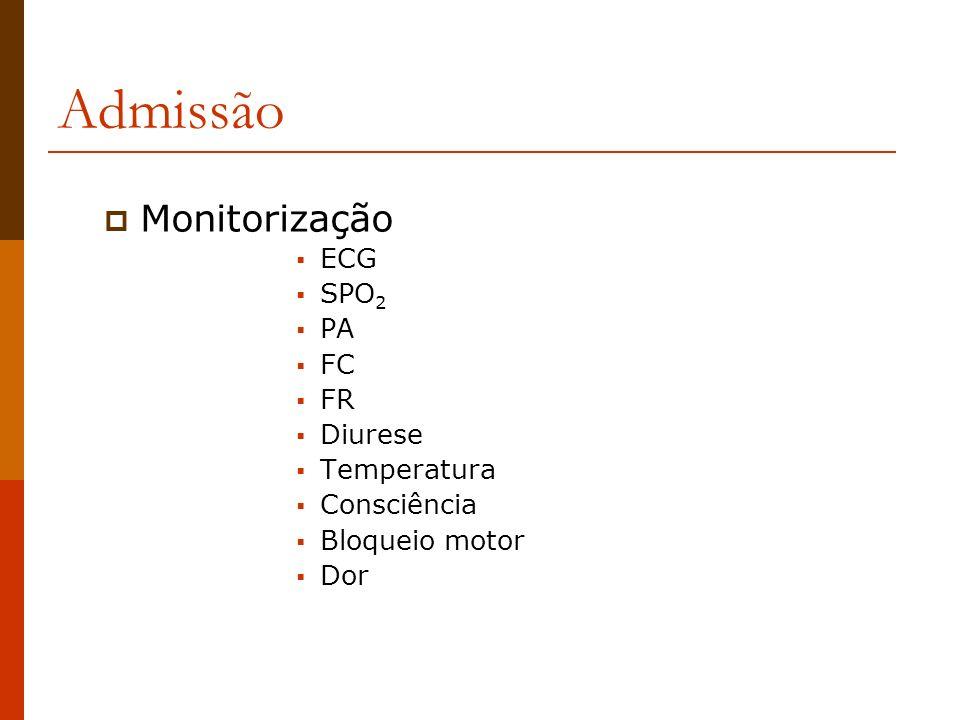 Admissão Monitorização ECG SPO 2 PA FC FR Diurese Temperatura Consciência Bloqueio motor Dor