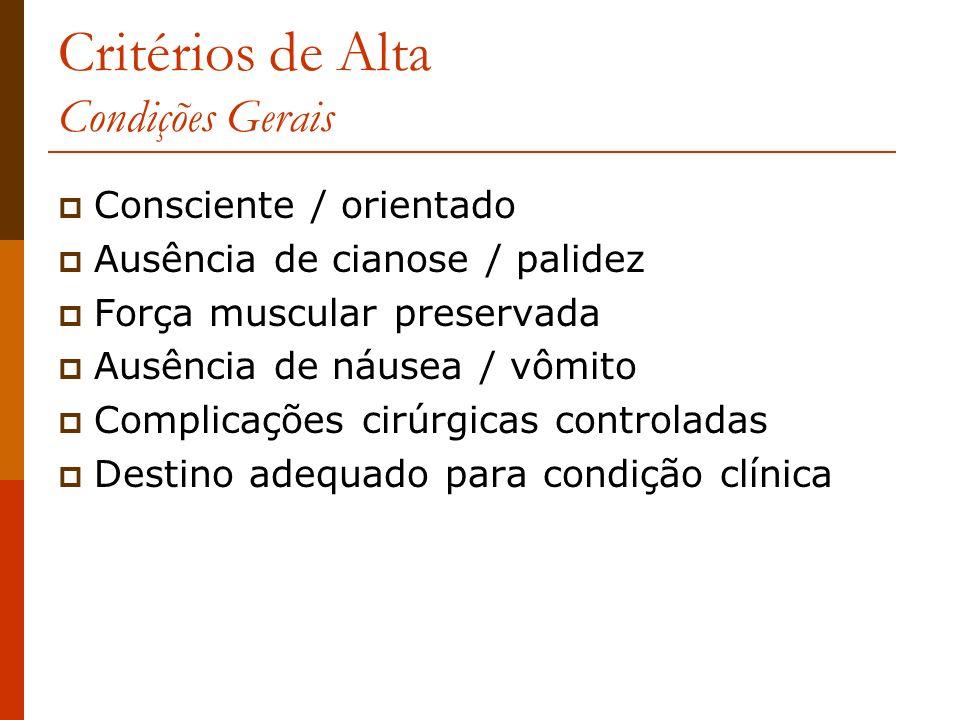 Critérios de Alta Condições Gerais Consciente / orientado Ausência de cianose / palidez Força muscular preservada Ausência de náusea / vômito Complica