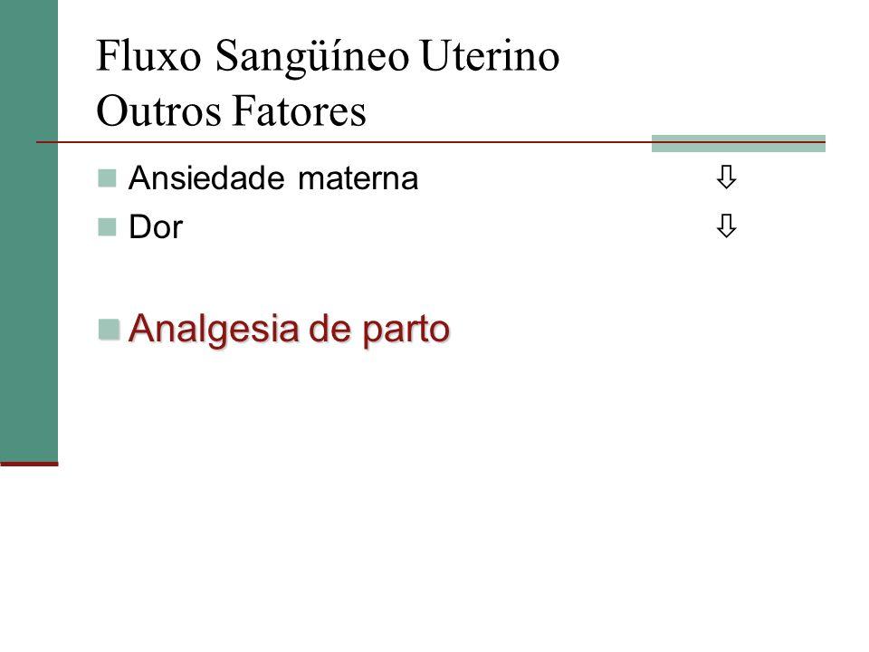 Fluxo Sangüíneo Uterino Outros Fatores Ansiedade materna Dor Analgesia de parto Analgesia de parto