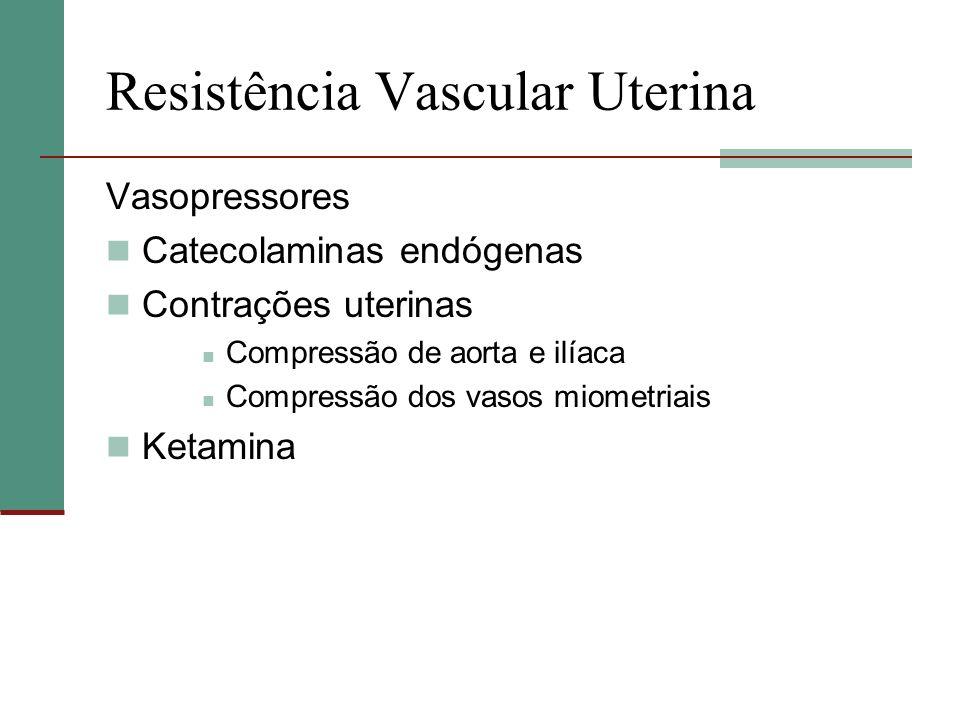 Resistência Vascular Uterina Vasopressores Catecolaminas endógenas Contrações uterinas Compressão de aorta e ilíaca Compressão dos vasos miometriais K