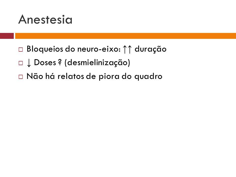 Anestesia Bloqueios do neuro-eixo: duração Doses ? (desmielinização) Não há relatos de piora do quadro