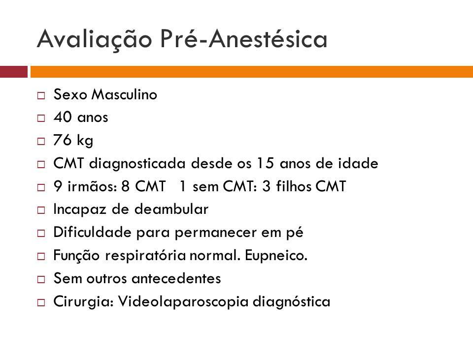 Avaliação Pré-Anestésica Sexo Masculino 40 anos 76 kg CMT diagnosticada desde os 15 anos de idade 9 irmãos: 8 CMT 1 sem CMT: 3 filhos CMT Incapaz de d