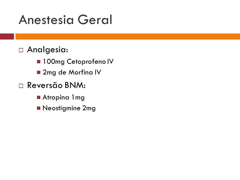 Anestesia Geral Analgesia: 100mg Cetoprofeno IV 2mg de Morfina IV Reversão BNM: Atropina 1mg Neostigmine 2mg