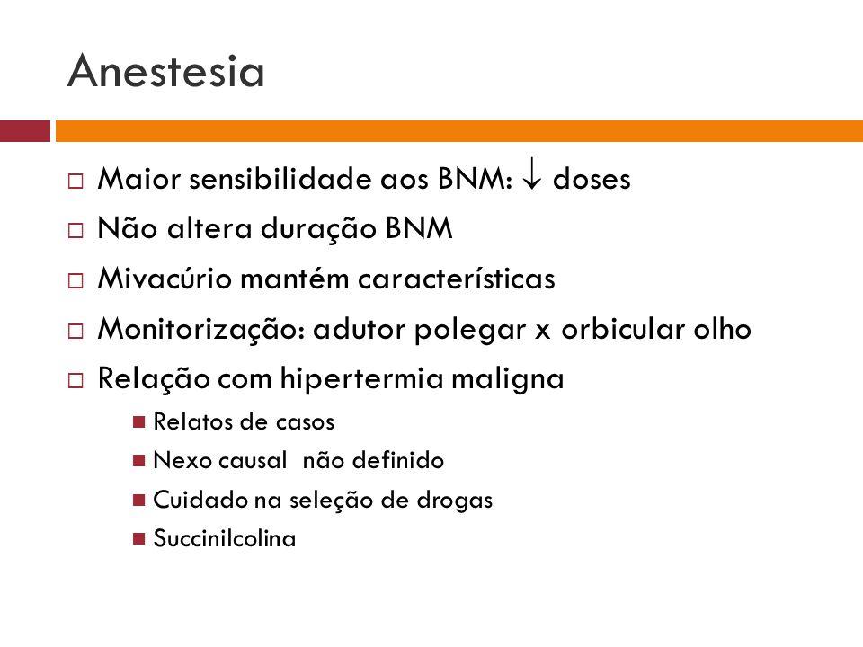 Anestesia Maior sensibilidade aos BNM: doses Não altera duração BNM Mivacúrio mantém características Monitorização: adutor polegar x orbicular olho Re