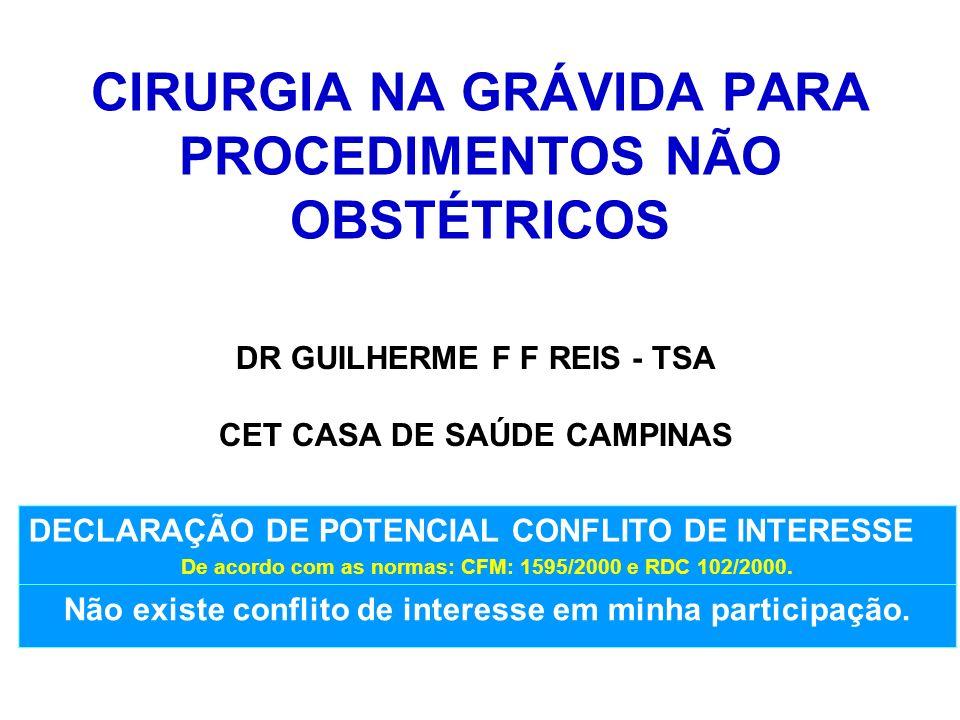 CIRURGIA NA GRÁVIDA PARA PROCEDIMENTOS NÃO OBSTÉTRICOS DR GUILHERME F F REIS - TSA CET CASA DE SAÚDE CAMPINAS DECLARAÇÃO DE POTENCIAL CONFLITO DE INTE