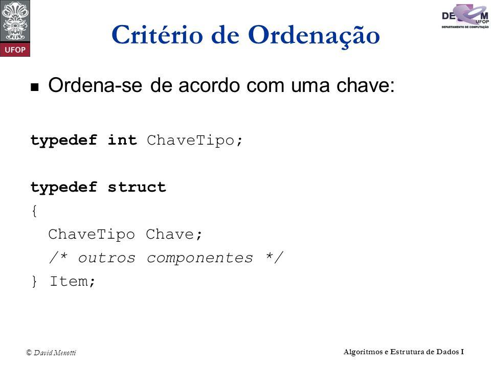 © David Menotti Algoritmos e Estrutura de Dados I Método Seleção void Selecao (Item* v, int n) { int i, j, Min; Item aux; for (i = 0; i < n - 1; i++) { Min = i; for (j = i + 1 ; j < n; j++) if ( v[j].Chave < v[Min].Chave) Min = j; aux = v[Min]; v[Min] = v[i]; v[i] = aux; }