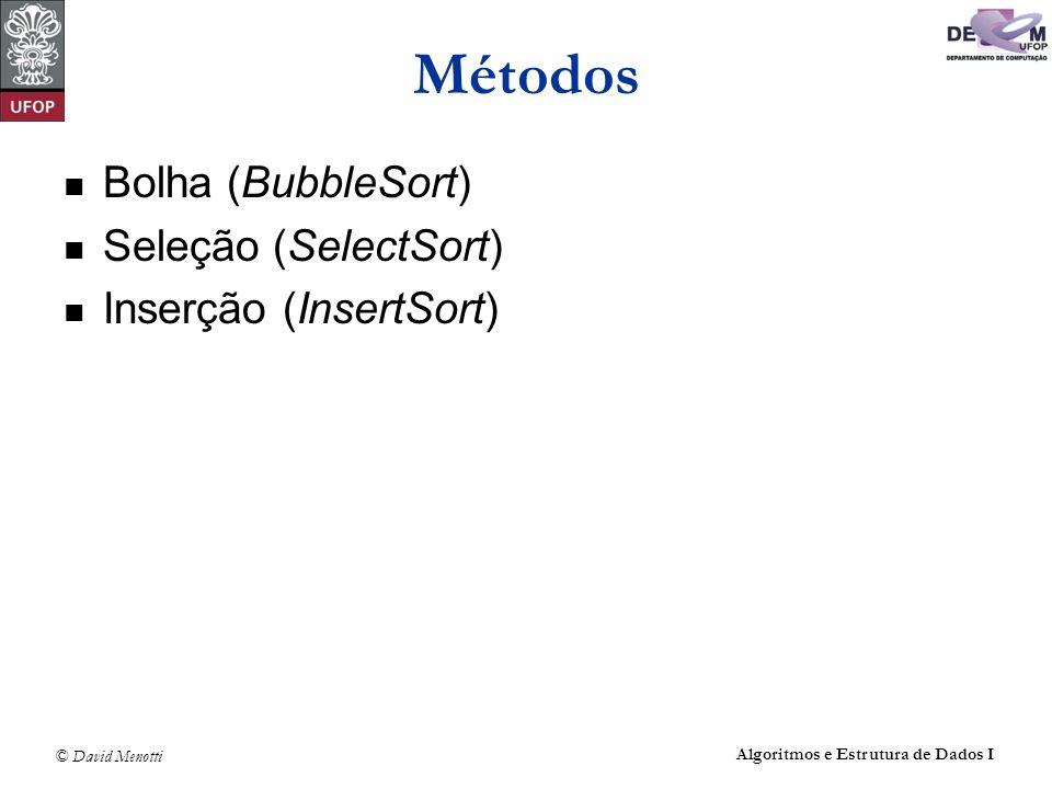 © David Menotti Algoritmos e Estrutura de Dados I Método Inserção Algoritmo utilizado pelo jogador de cartas As cartas são ordenadas da esquerda para direita uma por uma.