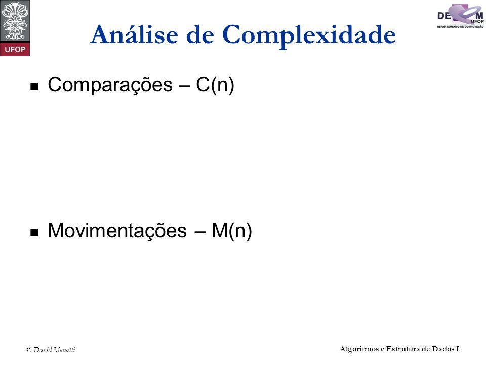 © David Menotti Algoritmos e Estrutura de Dados I Análise de Complexidade Comparações – C(n) No anel mais interno, na i-ésima iteração, o valor de C i é: melhor caso: C i (n) = 1 pior caso : C i (n) = i caso medio : C i (n) = 1/i (1 + 2 +...