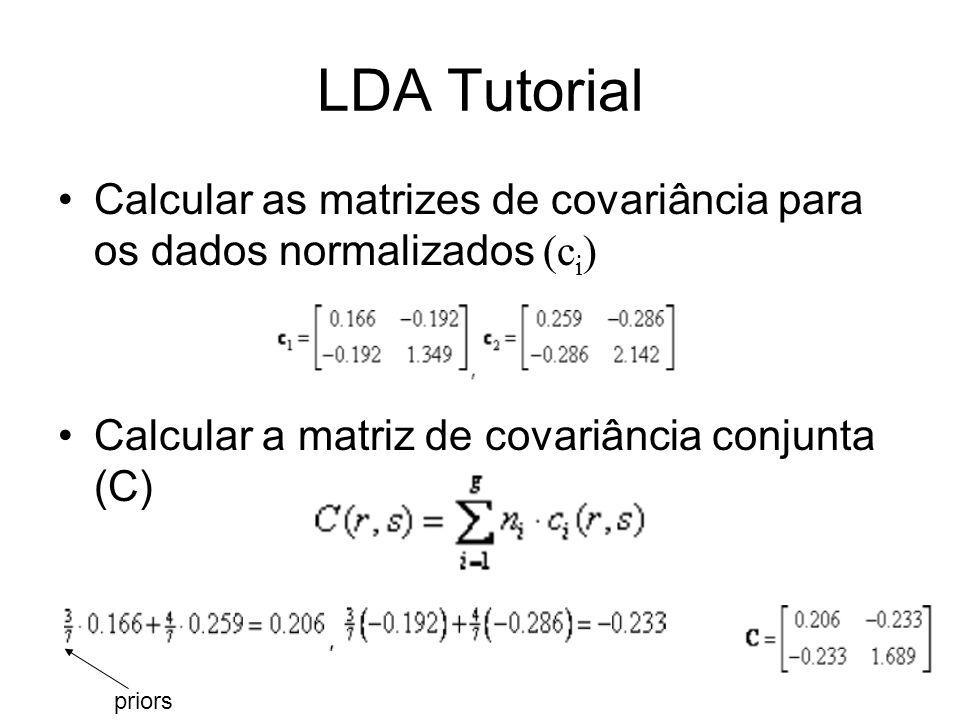 LDA Tutorial Calcular as matrizes de covariância para os dados normalizados (c i ) Calcular a matriz de covariância conjunta (C) priors