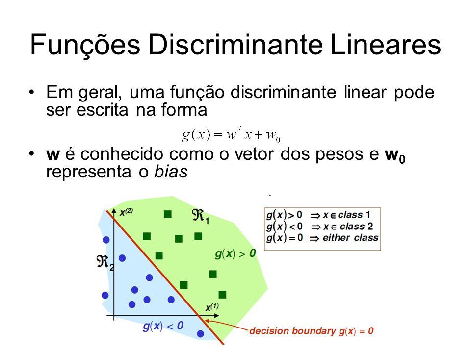 Funções Discriminante Lineares Em geral, uma função discriminante linear pode ser escrita na forma w é conhecido como o vetor dos pesos e w 0 represen