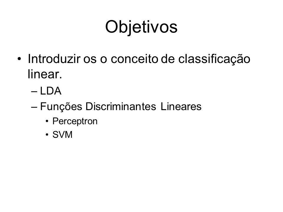Objetivos Introduzir os o conceito de classificação linear. –LDA –Funções Discriminantes Lineares Perceptron SVM